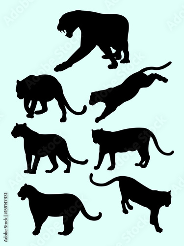Leopards And Panthers Silhouettes Good Use For Symbol Logo Web