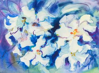 Watercolor painting white flowers color of orchid flower and green leaves.