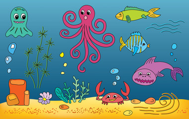 funny comic summer children illustration of the life in the sea