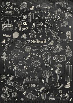 beautiful chalk drawing children school pattern for kids on the blackboard background
