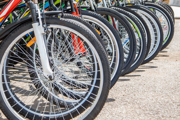 Row of bicycles. Wheels close-up