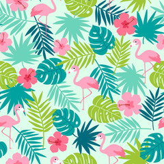 Tropical seamless pattern with botanical leaf, hibiscus and flamingo