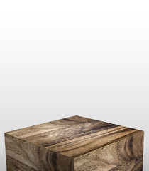 Product display stand made from wood with white copy space on top for adding content or design or replace your background,3d rendering.