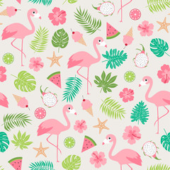 Cute tropical illustration seamless pattern with flamingo, hibiscus, botanical leaf and tropical fruits