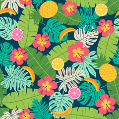 Colorful tropical summer seamless pattern vector with hibiscus, tropical fruits, and botanical leaf