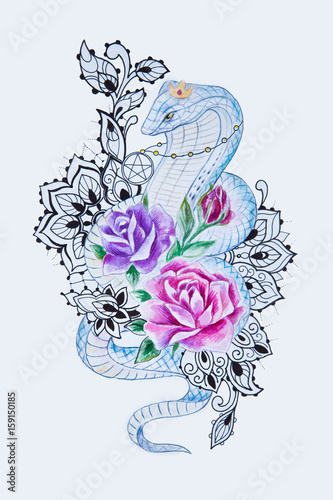 72770d3a4 Sketch of a beautiful snake with flowers on a white background ...