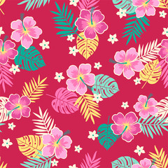 Hibiscus flower and tropical leaf seamless pattern background