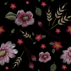 Set of the Traditional folk flower fashionable embroidery on the black background. A bouquet of roses and a dog rose, for printing on clothes, vector, Seamless pattern