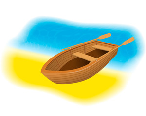 Wood rowboat with oars on the beach. Sailing boat with paddles standing on a sand shore of sea.