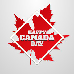 Happy Canada Day poster. 1st july. Vector illustration greeting card. Canada Maple leaf on white background