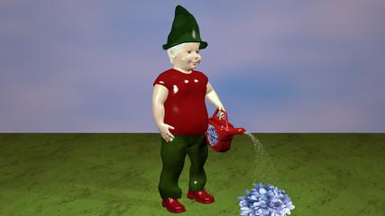 Gartenzwerg mit Gießkanne der eine Blume gießt, 3d Illustration