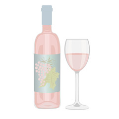 Bottle of rose wine and a glass on a white background