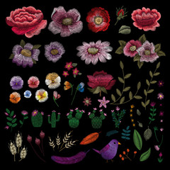 Traditional folk flower fashionable embroidery on the black background. Bouquet of dog rose for printing on clothes. vector