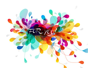 Abstract colored background with leafs and 'For You' quotation.