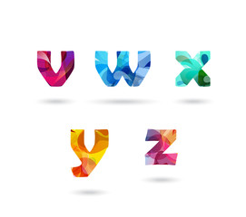 Abstract colorful letters set.