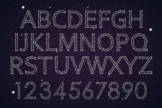 Font constellation space star, design, fashionable. Letters alphabet and numbers. vector