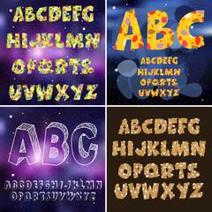 set of the font space, stars , rocks , English alphabet , children , vector illustration