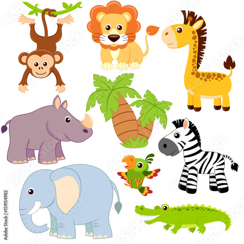Quot Jungle Animals Lion Elephant Giraffe Monkey Parrot
