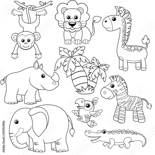 "Safari Animals Coloring Pages: "" Jungle Animals. Lion, Elephant, Giraffe, Monkey, Parrot"