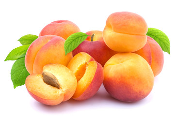 Apricot isolated. Group of apricots with leaves isolated on white background with clipping path
