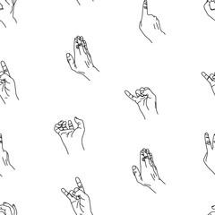 Hands gesture seamless background.