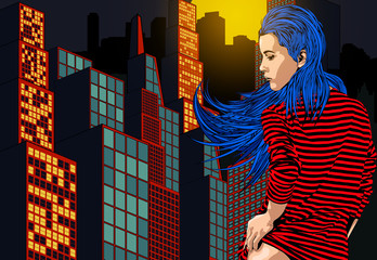 Woman near window with view on the night city. Long blue hair. Vector image.