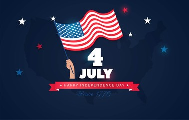 4 July USA Independence Day flyer, banner or poster. Holiday background with waving flag in man`s hand and map. Vector flat illustration