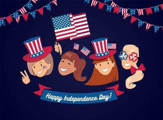 4 July USA Independence Day flyer, banner or poster. Group of happy girls with  different holiday symbols celebrating Independence Day, smiling. Holiday and celebration concept. Vector illustration