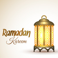 Ramadan Kareem greeting card. Islamic lantern lamp. Illustration for muslim holy month Ramadan. Vector