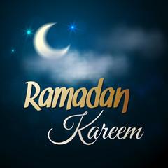Ramadan Kareem greeting card. Night view illustration for muslim holy month Ramadan. Vector