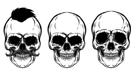 Set of the skulls isolated on white background. Design elements for poster, t-shirt. Vector illustration