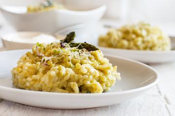 Asparagus risotto close up