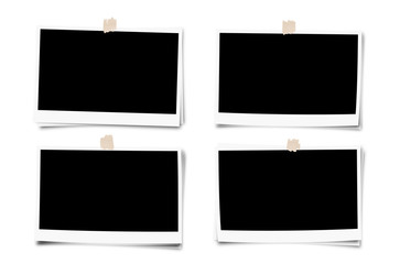 Set of photo frame with tape, isolated on white backgrounds