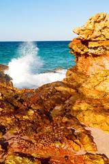 in oman coastline sea ocean   gulf rock and beach relax near sky