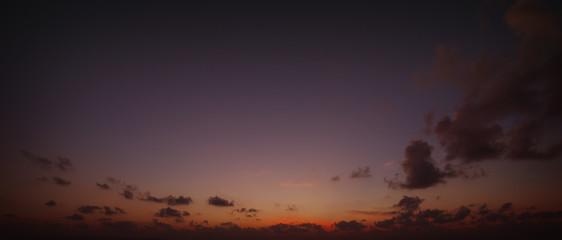 Panorama of evening sky above the horizon