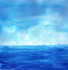 Watercolor hand drawn seascape, landscape. Sea, waves, sky, sun. Background, template for design