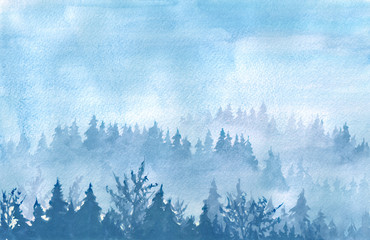 Watercolor hand drawn illustration of misty foresrt, Old trees, hill covered forest.