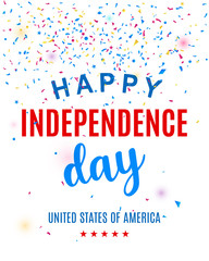 Happy Fourth of July greeting card template with confetti