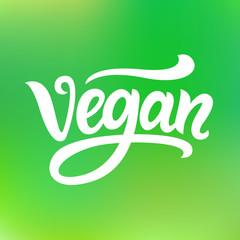 Vegan hand written lettering on green background