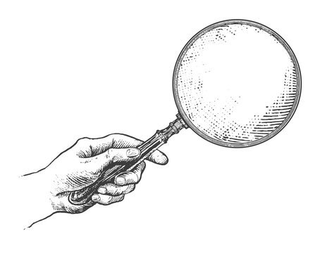 Hand holding magnifying glass. Vintage Victorian Era Engraving style retro vector lineart Hand drawn illustration