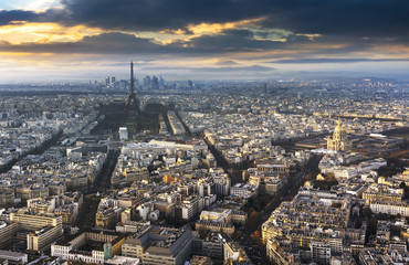 paris city in France by sunset
