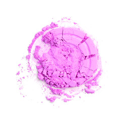 Round pink crashed powder for make up as sample of cosmetics product isolated on white background