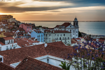 Lisbon, Portugal: aerial view the old town, Alfama at sunrise