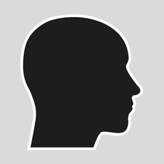 Contour of a human head against a gray background