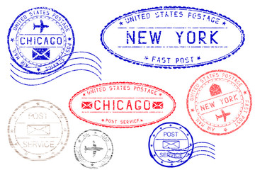 Postmarks NEW YORK and CHICAGO. Blue and red ink postal elements