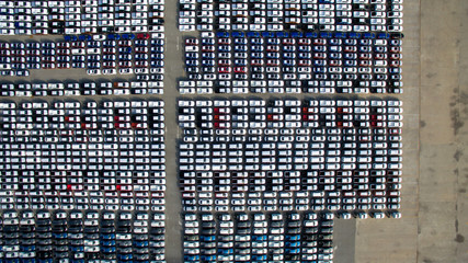 Aerial view of new car storage parking lot.