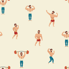 Sport and gym vector pattern. Hand draw backdrop with muscular, bearded mans illustration. Cartoon seamless background. Wallpaper with fitness models, posing, bodybuilding