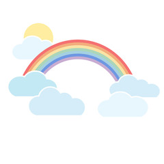 Rainbow with clouds on a white background