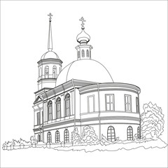 Cathedral hand drawn line art