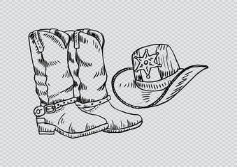 Cowboy boots and western hat. Sketchy style.